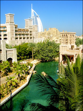 United Arab Emirates, Dubai - View on the Burj Al Arab from Souk Madinat Jumeirah