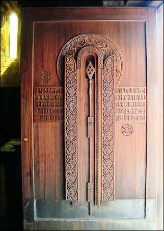 Armenia - Church door with carved-out spear