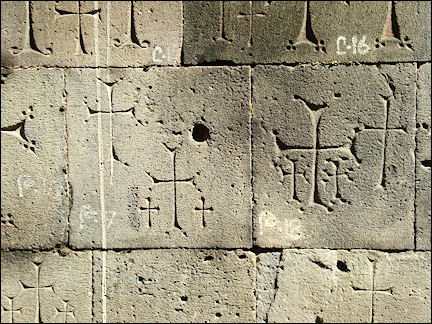 Armenia - Pilgrim graffiti on the walls of the Sanahin monastery