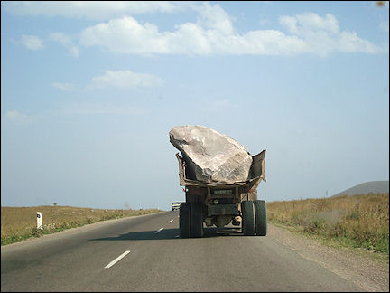 Armenia - Truck with huge rock