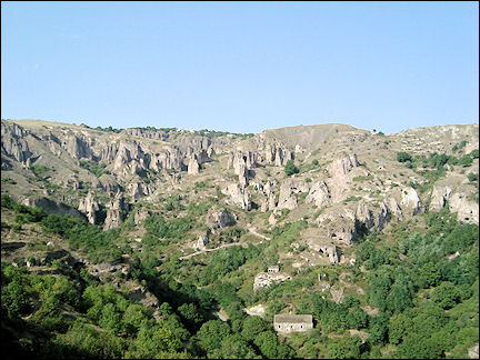 Armenia - Canyon with lots of caves and typical rock formations near Khndzoresk