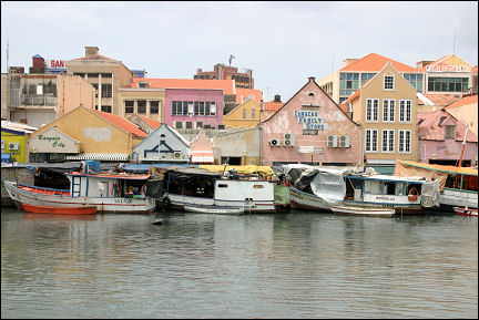Netherlands Antilles, Curaçao - Willemstad, Otrabanda, view of Punda with floating fish market