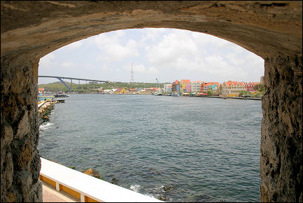Netherlands Antilles, Curaçao - St. Anna Bay, with in the background the Queen Juliana Bridge and Punda on the other side
