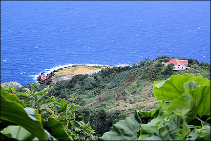 Leeward Islands, Saba - view of the runway from Santa Cruz Trail