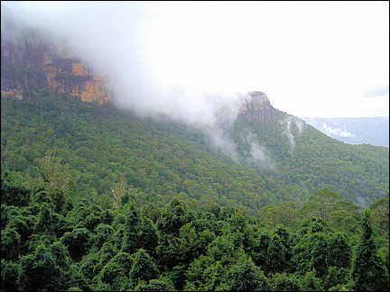 Australia, Blue Mountain - Cloud patches rise over the mountain peaks