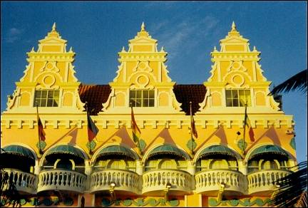 Aruba - Oranjestad, pastel-colored gables