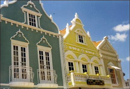 Aruba - Oranjestad, pastel-colored gables on Plaza Daniel Leo