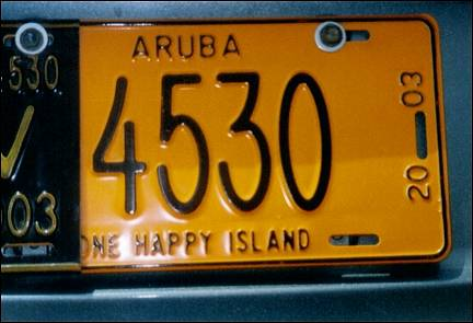 Aruba - License plate One Happy Island