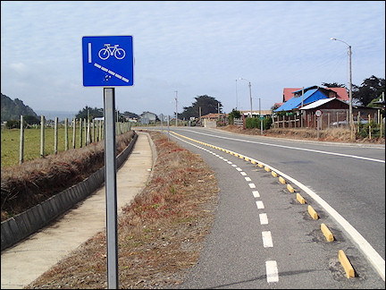Chile - Bike path along the road
