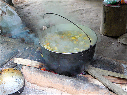 Colombia, Cuidad Perdida - Huge pan of corn soup