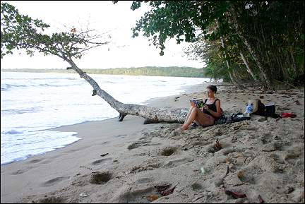 Costa Rica - Gerrie on the beach, Caribbean Sea