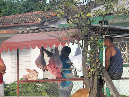 Cuba - Meat stall in the burning sun