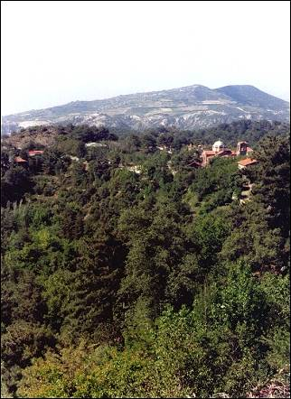 Cyprus - Pano Platres in its lush green surroundings