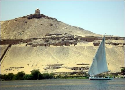 Egypt - Felucca against desert backdrop