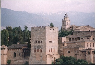 Spain, Andalusia, Granada - The Alhambra in the daytime from Mirador S. Nicolás