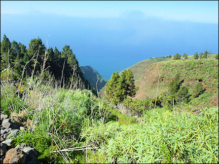 La Palma, Canary Islands, Spain - View of the ocean from a gorge