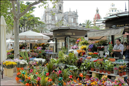 Spain, Valencia - Flower stall on the Plaza del Ayuntamiento