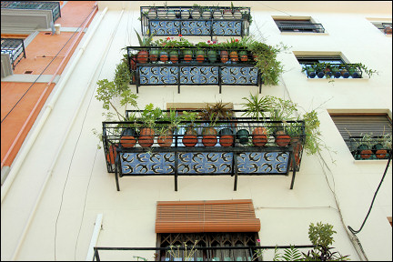 Spain, Valencia - Balconies with azulejos