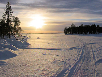 Finland, Lapland - The sun breaks through the clouds