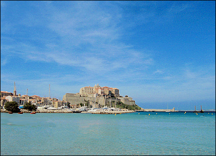 France, Corsica - Calvi citadel, seen from the beach