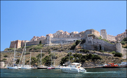 France, Corsica - Port and upper city of Bonifacio from the sea