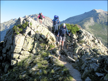 France, Corsica - View of the route over the mountain ridge