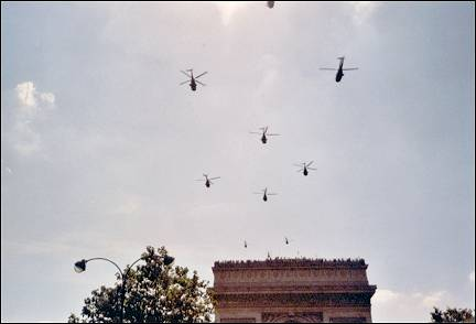 France, Paris - Choppers over the Arc de Triomphe