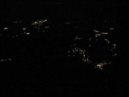 France, Haute-Savoie, Rhône-Alpes - We only see some lights in the valley