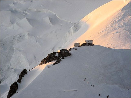 France, Haute-Savoie, Rhône-Alpes - Vallot hut at first light