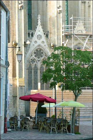 France, Normandy - Café near cathedral