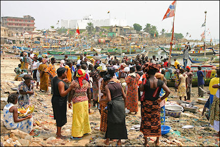 Ghana, Dixcove - Crowded beach at Dixcove