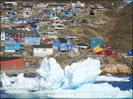 Greenland - Qaqortoq harbor is inaccessible because of the pack ice