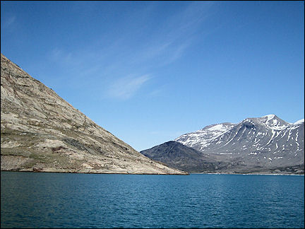 Greenland - Mountains in three colors along the Tunulliarfik Fjord
