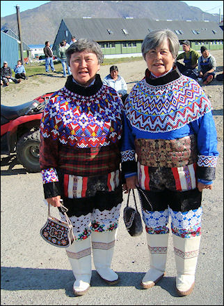 Greenland - Women in traditional clothing during the national holiday in Narsaq