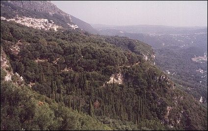 Greece, Corfu - Lakones glued to a mountain