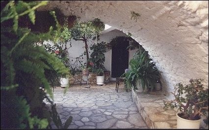 Greece, Corfu - Cloisters in monastery, Paleokastritsa