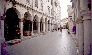 Greece, Corfu - Shopping street with arcades