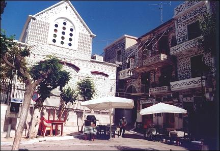 Greece, Chios - Pirgi, platia with church