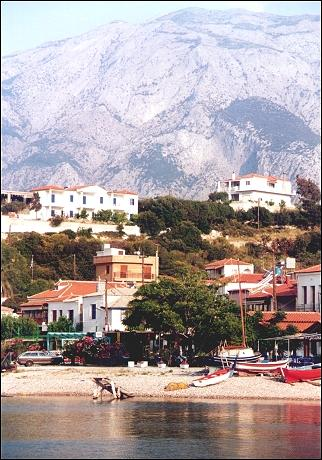 Greece, Samos - Ormos Marathokambo with Mt. Kerkis in the background