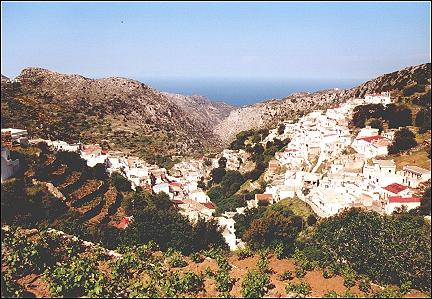 Greece, Cyclades, Naxos - Koronos is built against both walls of a gorge
