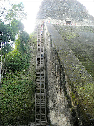 Guatemala - Tikal, wooden stairs to Temple IV