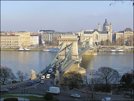Hungary, Budapest - Széchenyi Chain Bridge and Pest, from Castle Hill