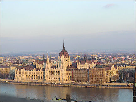 Hungary, Budapest - Parliament, seen from Fishermans Bastion