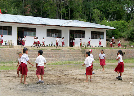 Indonesia, Sumatra - School with children in uniform