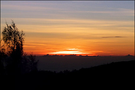 Indonesia, Java - Sunrise at Mt. Penanjukan