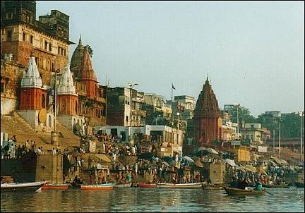 India - Ghats along the Ganges River in Varanasi