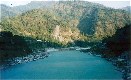 India - Rishikesh, the Ganges river originates in the Himalayas