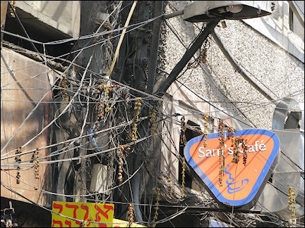 India, Delhi - Tangled electric wires in backpackers district
