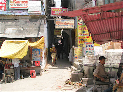 India, Varanasi - Narrow streets in the city center