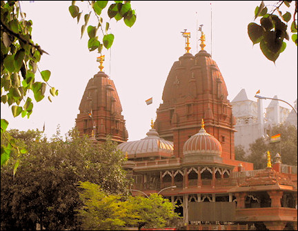 India, Delhi - A view of the Jain Temple; Gauri Shankar Temple in the background